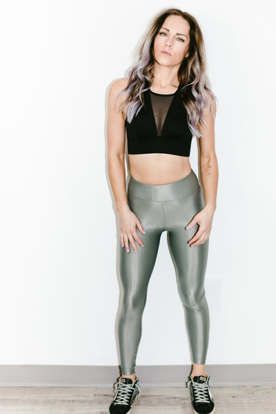 Lustrous High Rise Legging in Agave