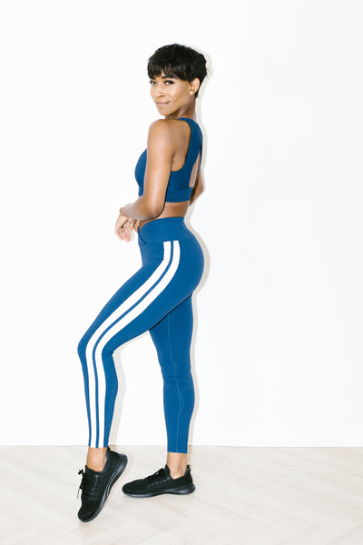 Racer Legging in Navy + White