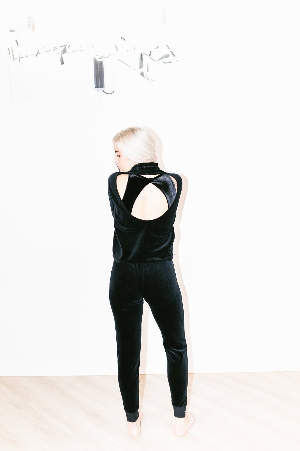 Open Back Velour Mock Neck in Black