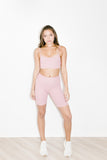 Ribbed Biker Short in Rose