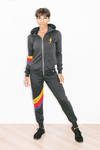 Cross Stripe Sweatpant in Black