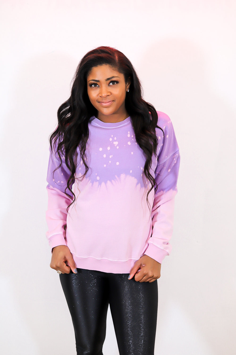 Drip Tie Dye Pullover in Purple / Pink