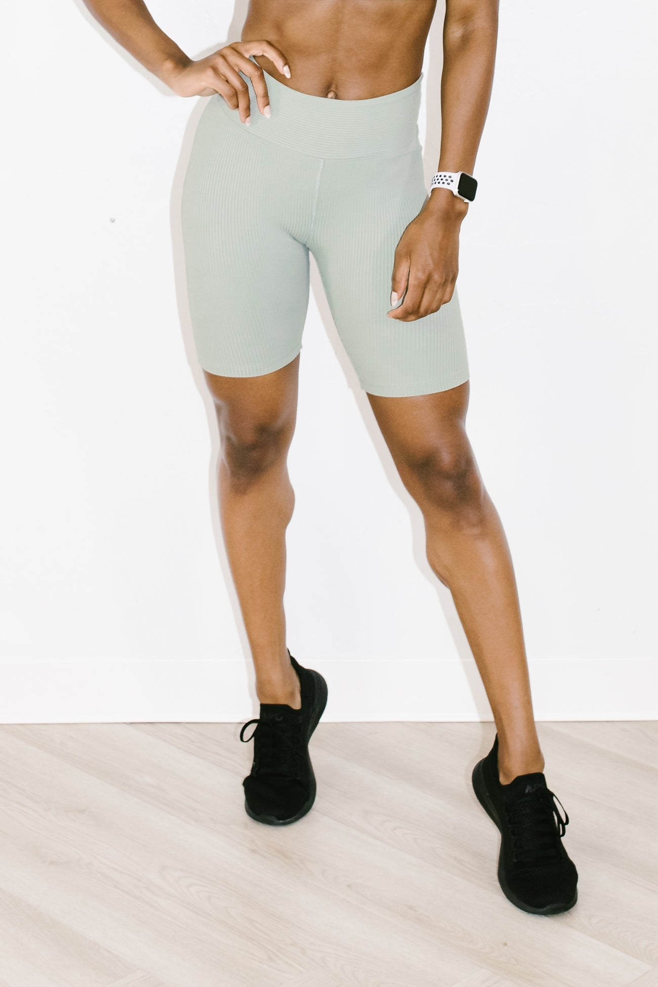 Ribbed Biker Short in Sage