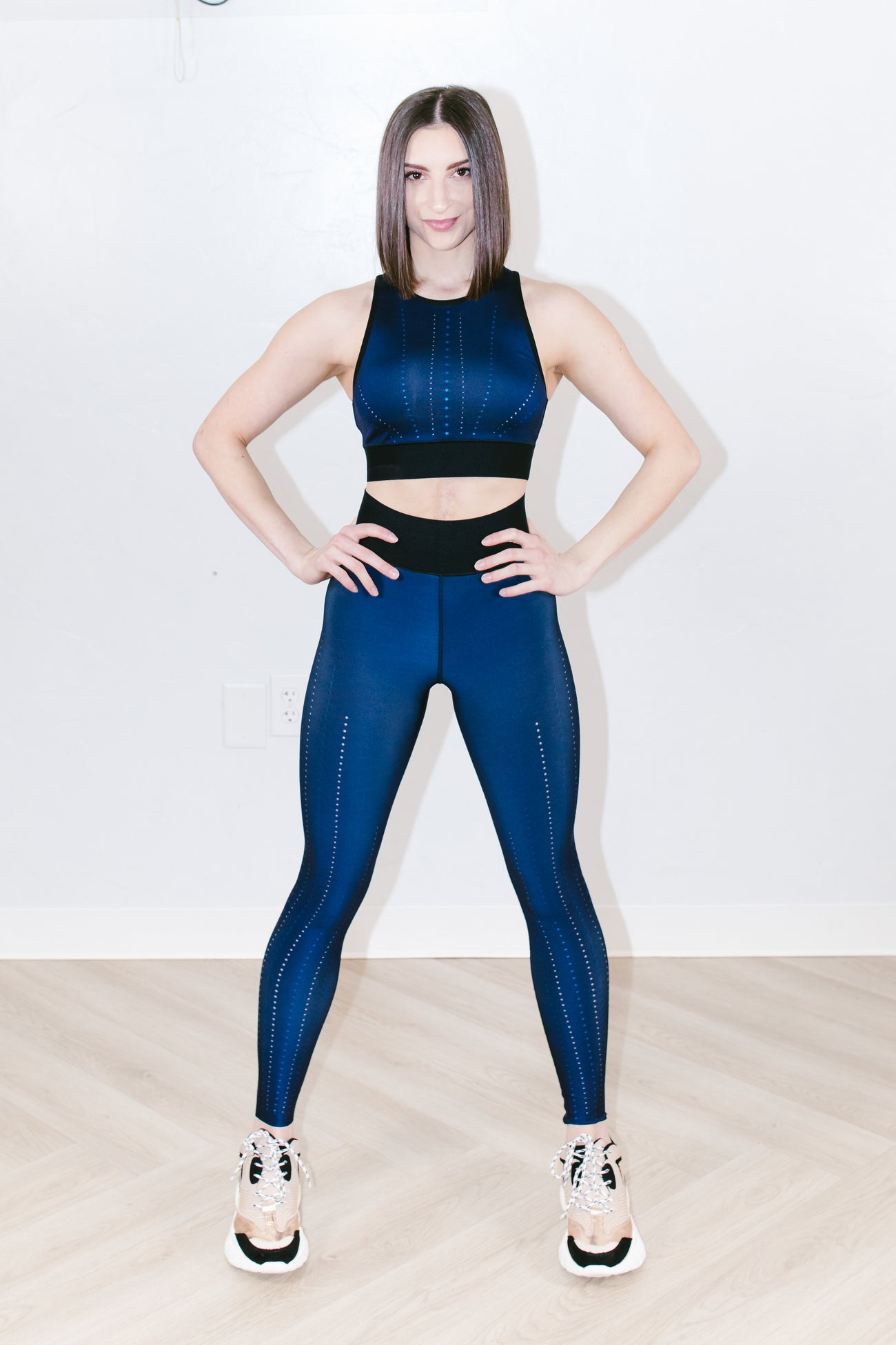 Altitude Corsetry Crop Top in Navy Blue Metal