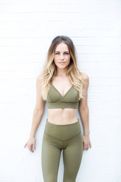 Leather Lust Bralette in Olive