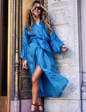 Bright Blue Silk Robe