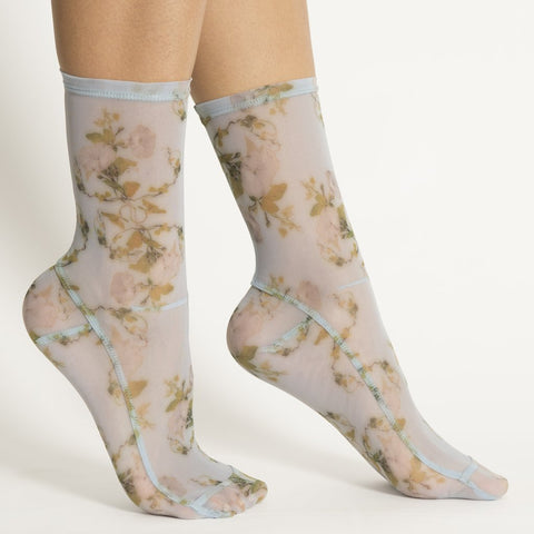 Darner Powder Blue Rosendal Floral Mesh Socks