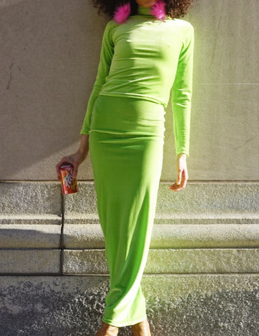 Velvet Tube Skirt Acid Lime