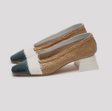 MIISTA EIVISSA NATURAL MIX WOVEN LEATHER HEELS