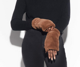 Faux Fur Ariel Fingerless Gloves - Camel