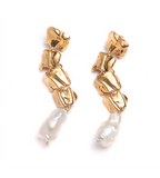 Sterling King Pearl Vertebrae Earrings Gold