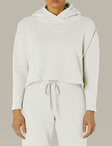 French Terry Cropped Hoodie White
