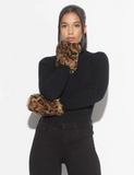 Faux Fur Ariel Fingerless Gloves - Leopard