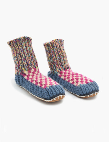 ariana bohling knit slipper sock blue