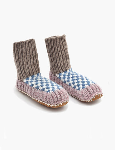 ariana bohling knit slipper sock lilac