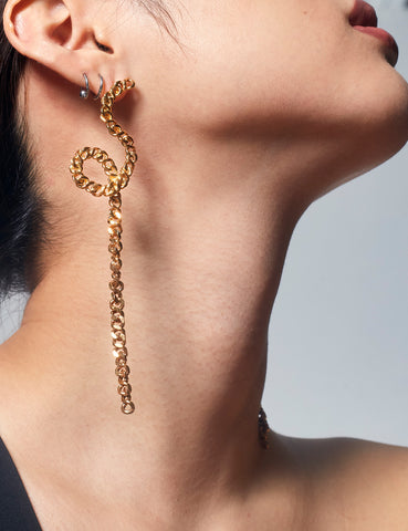 Chain Loop Drop Earrings Gold