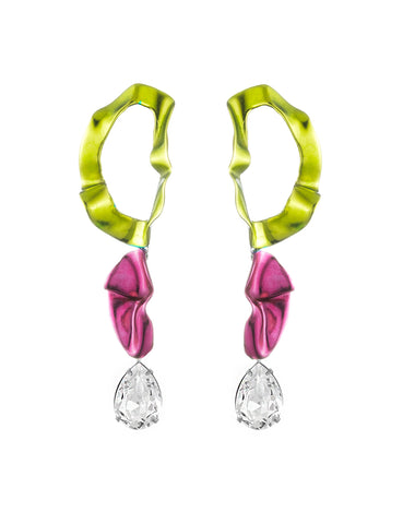 Inside Out Crystal Drop Earrings Lemon Fuchsia