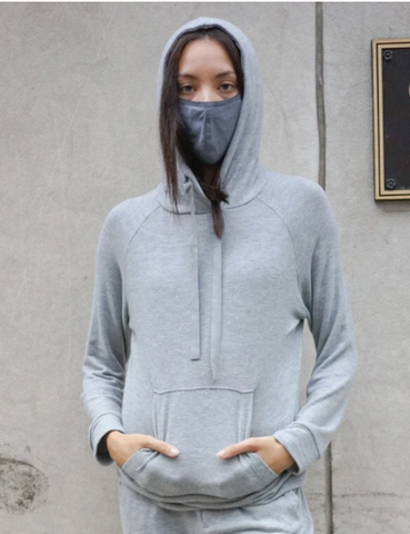 ENZA COSTA Peached Jersey Easy Hoodie Gray
