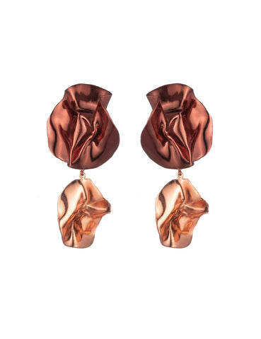 The Fold Earrings Maroon + Peach Pink
