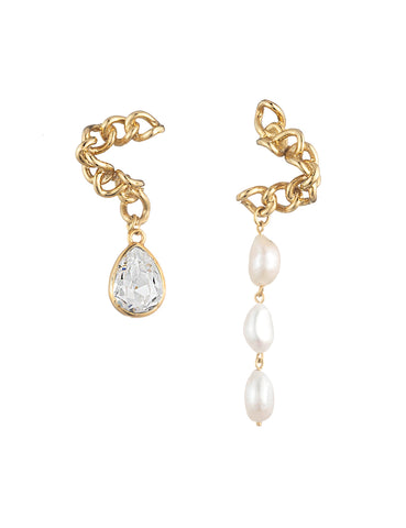 La Perle Mismatched Earrings Crystal