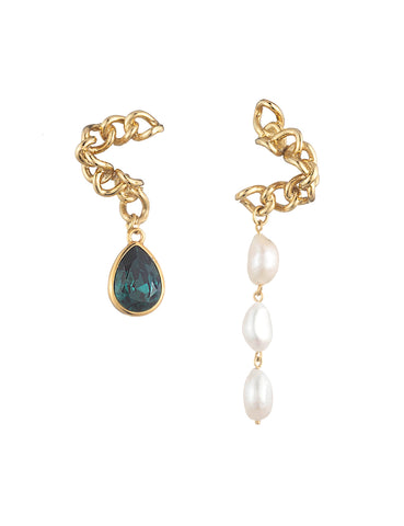 La Perle Mismatched Earrings Emerald