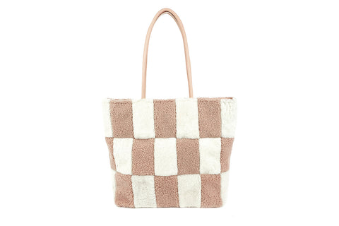 PRIMECUT BLUSH BLOCKS SHEARLING TOTE