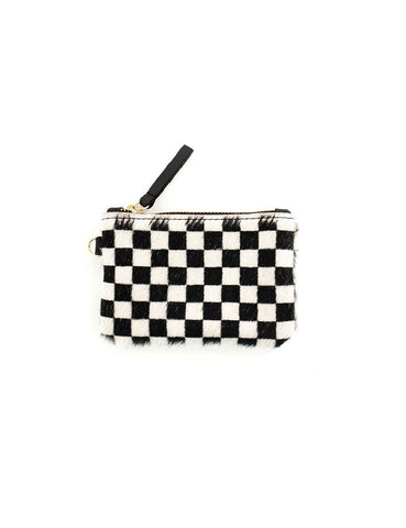 Cowhide Coin Pouch - Checkered