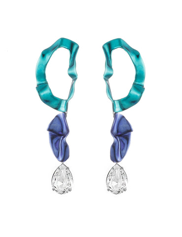 Inside Out Crystal Drop Earrings Aqua