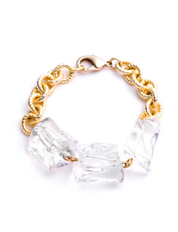 Sterling King Lucite Ice Bracelet Gold