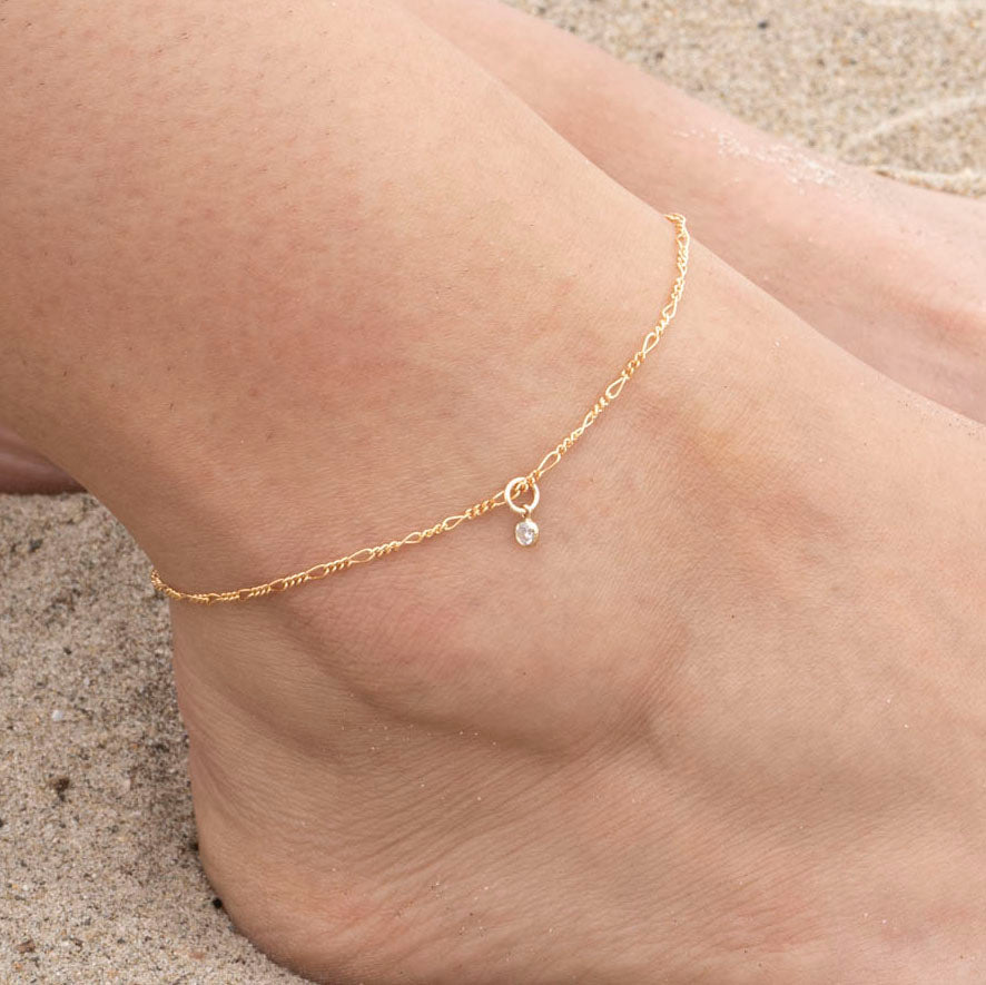 Gold Thin Figaro Anklet