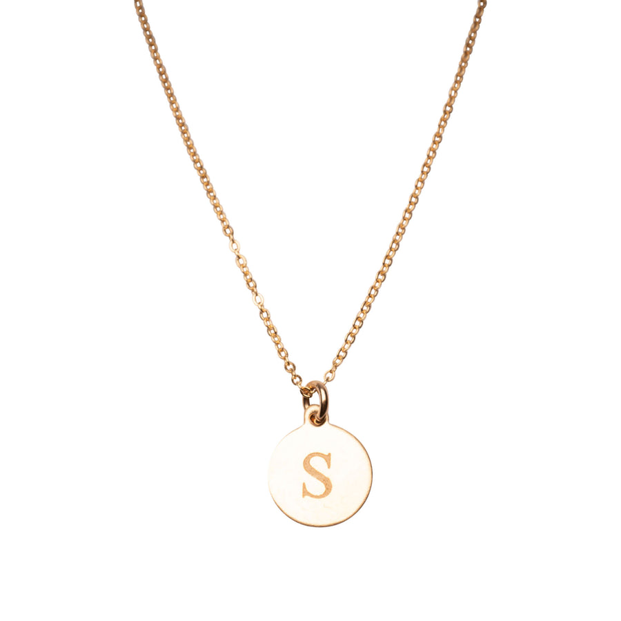 Gold Flat Circle Charm Necklace