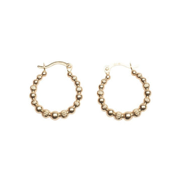 14k Gold Dotted Hoops