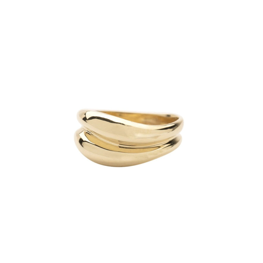 14k Double Wave Dome Ring