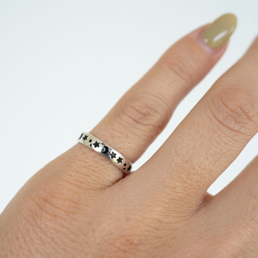 Silver Starry Night Ring