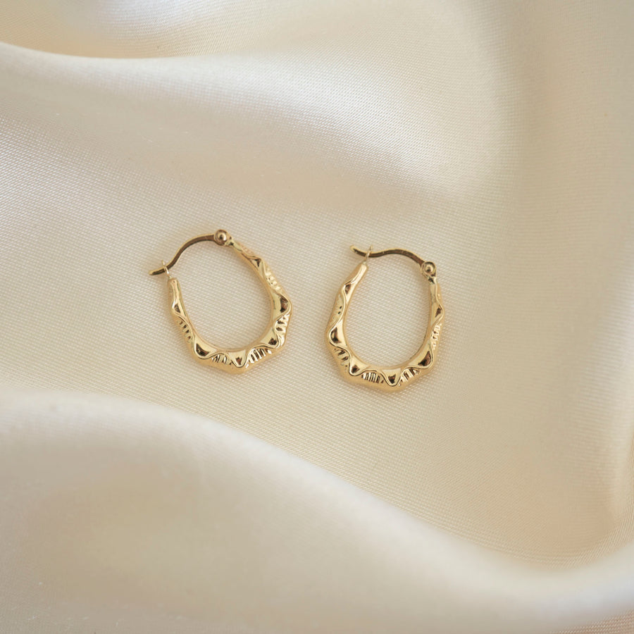 14k Gold Pattern Hoops