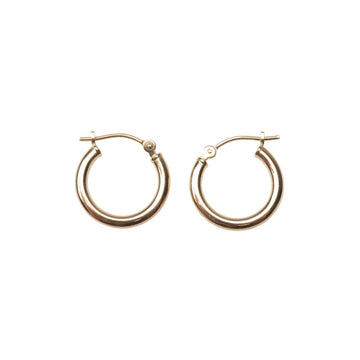 14k Solid Gold 15mm Hoops