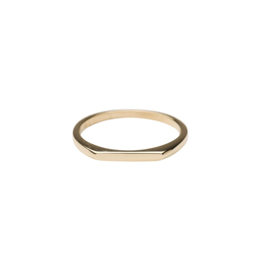 14k Gold Thin Signet Ring