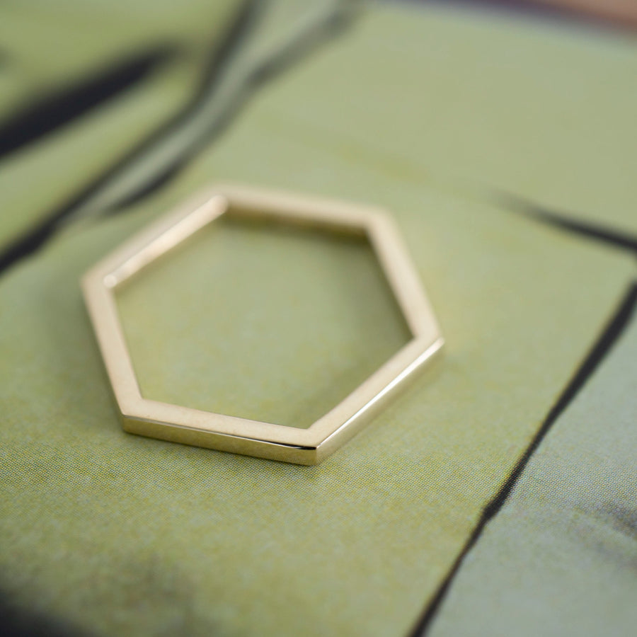 14k Gold Hexagon Ring