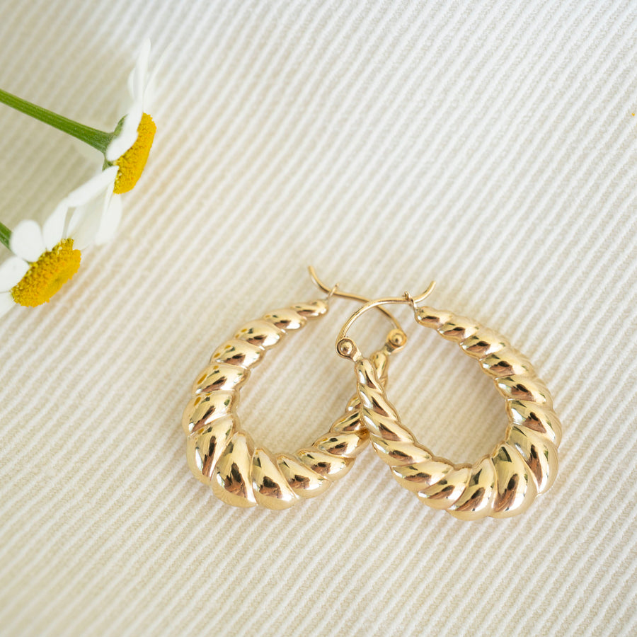 14k Gold Bubble Hoops