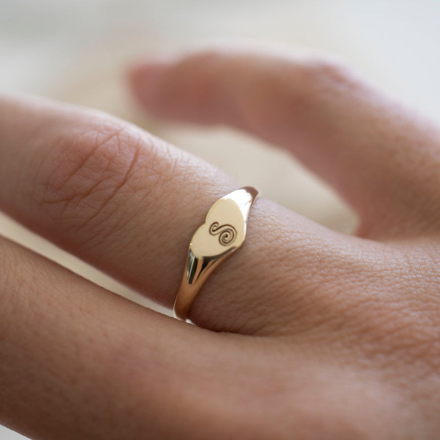 14k Gold Heart Signet Ring