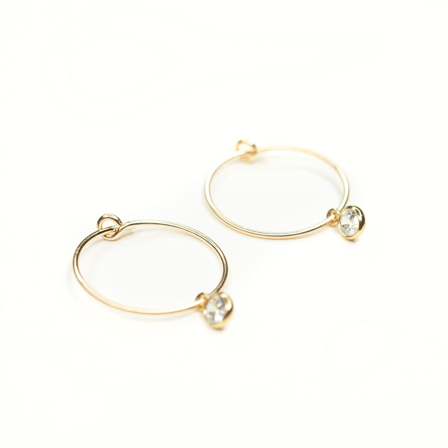 Gold Dainty Crystal Hoops