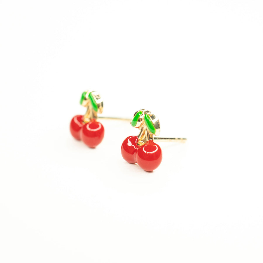 14k Solid Gold Cherry Studs