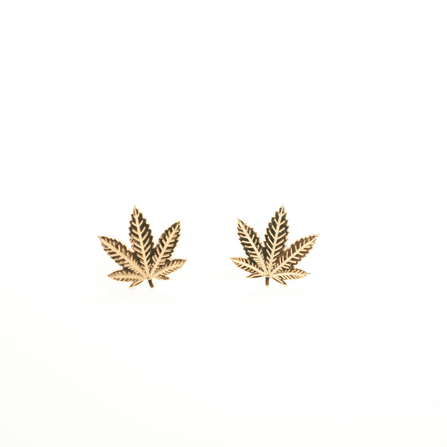 Solid 14k Gold Cannabis Studs