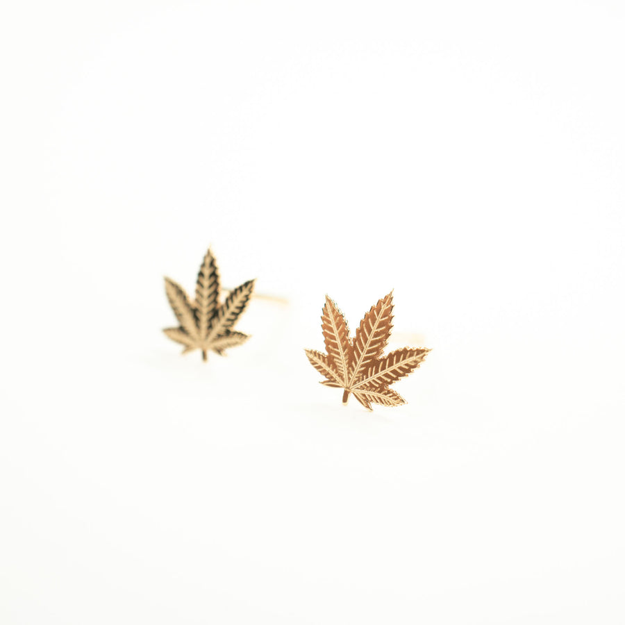 14k Gold Cannabis Studs