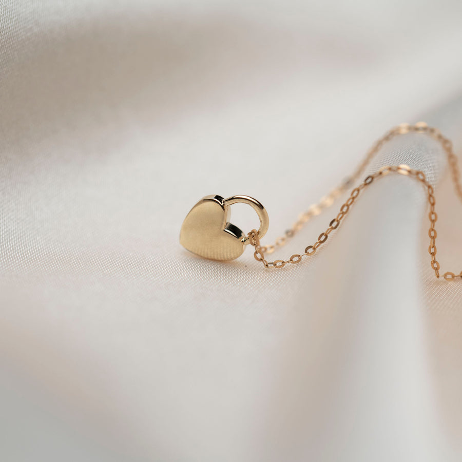 14k Padlock Heart Necklace