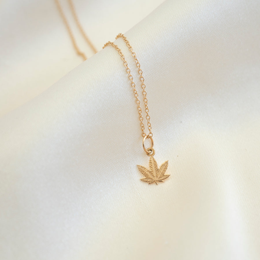 14k Gold Cannabis Necklace