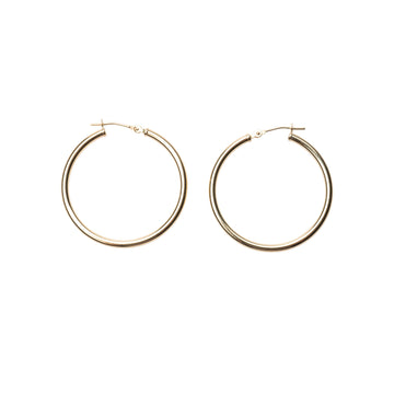 14k Solid Gold Clasp Hoops