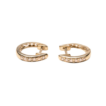 14k Gold Diamond Hoops .10 CTW