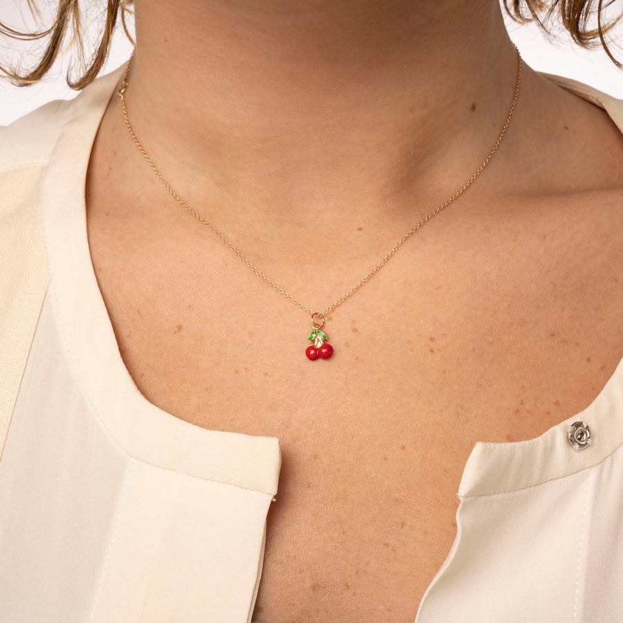 14k Solid Gold Cherry Necklace