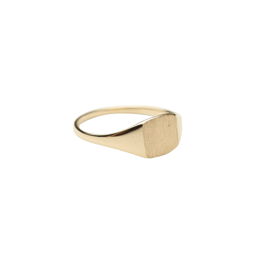 14k Gold Little Square Signet